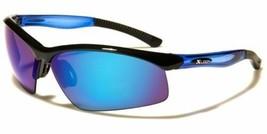 Mens Mirrored Lens Frame Wrap Around Sport Cycling Baseball Sunglasses Blue - $13.99