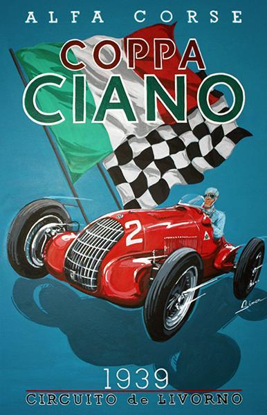 Primary image for 1939 Coppa Ciano Auto Race - Italy - Promotional Advertising Poster
