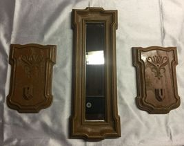VTG 1981 HOMCO 3 pc set Faux Wood Rectangle Mirror/2 Sconce Hanger Plaques~EVC - $21.67