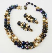 Vintage Hobe Pearl & Jet Aurora Borealis Bead Necklace & Earring Set - G... - $70.00