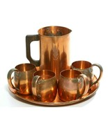 Vintage West Bend Aluminum Co 6Pc Solid Copper 4 Mugs, Pitcher & Tray / ... - $93.49