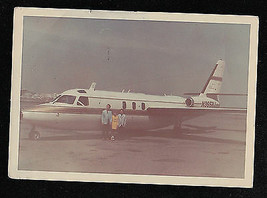 Old Antique Vintage Photograph People Standing By An Airplane 1969 - $6.93