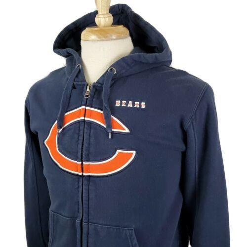 Chicago Bears NFL Team Apparel Hoodie Sweatshirt Small Full Zip Sewn Logo Pocket - $19.79
