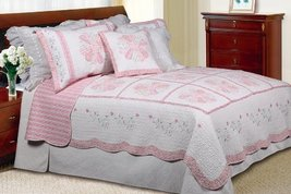 [Daisy Field] 100% Cotton 2PC Floral Vermicelli-Quilted Embroidered Patchwork Qu - $100.97