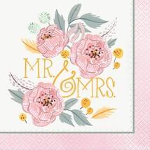 Painted Floral 16 Ct Beverage Napkins Wedding Bridal Shower - $3.26