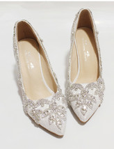 Women Ivory Lacey Crystal Wedding Low Heels,Bridal Low heels Shoes US Si... - $88.00