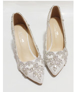 Women Ivory Lacey Crystal Wedding Low Heels,Bridal Low heels Shoes US Si... - £71.68 GBP