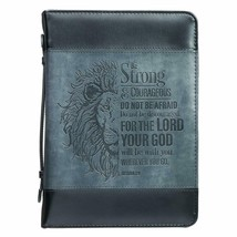 Bible Cover NEW Black Large Be Strong Lion Joshua 1:9 Fits 9 5/8 x 6 7/8... - $26.53