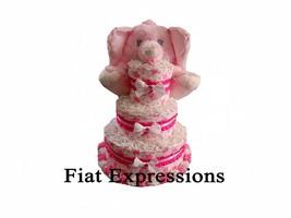 Elephant Girl Pink 3 Tier Diaper Cake Elephant Baby Shower Centerpiece &... - $110.00