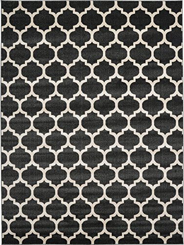 A2Z Rug Trellis Design Collection - 9' x 12'-Feet Area Rugs, Black, used for sale  USA