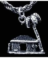 LOOK Hawaiian Hut Palm Tree Charm Pendant Sterling Silver - $13.71