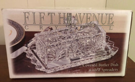 Fifth Avenue Portico Crystal Covered Butter Dish 2 Spreaders in Box Beau... - $29.69