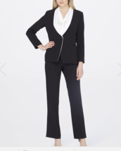 NWT TAHARI ASL Petite Contrast Collar  Pantsuit size 0P $290 - $70.27