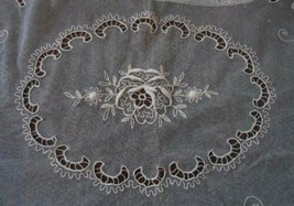 Antique French Tambour Net Lace Tablecloth Bedspread Cutwork Embroidery - $172.62