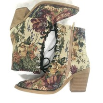 NEW Jeffrey Campbell Elmace Tapestry Brocade Pink Beige Lace Up Boots Sz 5 - $148.50