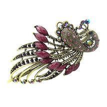 Retro Peacock Pattern Luxury Aulic Style Crystal Bronze Alloy Hair Claws, Purple