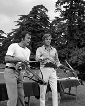 Tony Curtis in The Persuaders! Roger Moore with cross bows archery 16x20 Canvas - $69.99