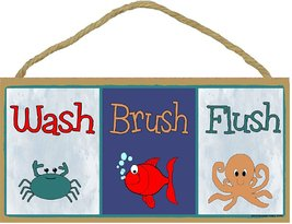 "Wash Brush Flush Fish Crab Octopus Bathroom Sign Plaque 5""x10"" - $12.86"