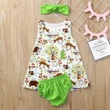 NWT Baby Girls Woodland Animals Fox Owl Deer Dress Bloomers Headband Out... - $8.44