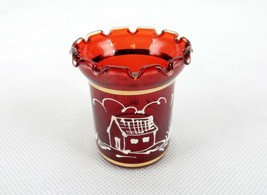 Glass Toothpick Holder, Transparent Red Glass, Ruffled Rim, Country Art ... - $14.65