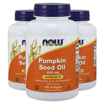 Pumpkin Seed Oil 1000mg Phytosterols 3X100gels Now Foods 2000mg per 2 Caps - $35.19