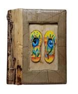 Handmade Photo Album Beach Sandals flip flops Natural Leaves Twig - $16.39