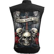 Men's Spiral Unspoken Stone Washed Sleeveless Black Denim Jean Button Up Vest image 3