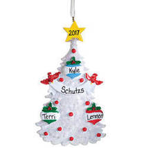 White Glitter Tree Ornament-PlianFamilyOf3 - $14.59
