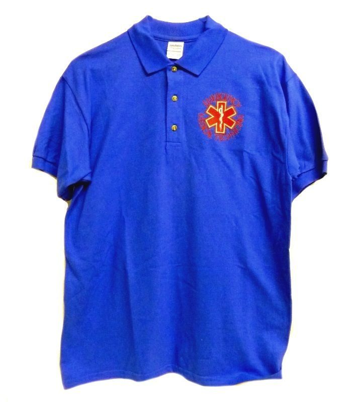EMT Polo Shirt M Emergency Medical Technician Star of Life Royal Blue Gold S/S - $26.16
