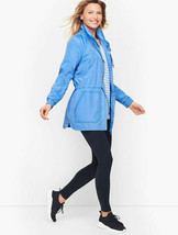 NWT T By Talbots Sz Large Cinch Waist Water Resistant Jacket Vent Blue $129 - $59.39