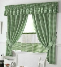 "Green And White Gingham Kitchen Curtains Pelmet & 24"" Cafe Panel 3 Sizes - $48.06+"