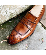 New Penny Loafer Slips On Moccasin Brown Suede Formal Oxfords Brogue Shoes - $156.73