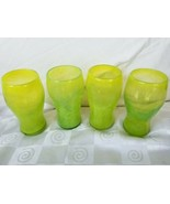Mexican Hand Blown Beer Glasses Neon Yellow Green Swirl Rare - $85.45