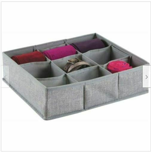 Divided Fabric Accessory Tray Made by Design 13 x 13 inch Gray Storage Organizer