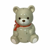 "Otagiri Handcrafted Orange Bow Floral Bear Ceramic Cookie Jar 10"" Japan - $65.44"