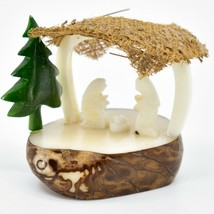Hand Carved Tagua Nut Carving Nativity Scene Figurine w/ Manger & Green Tree
