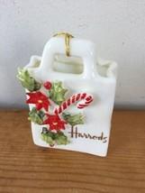 Vtg Harrods Store Porcelain Shop Bag Fine Bone China Candy Christmas Orn... - $36.99