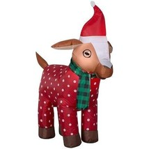 Gemmy 3.5FT Inflatable Christmas Goat with Scarf and Santa Hat Indoor/Outdoor Ho - $70.85