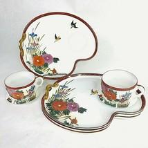 Vintage Hakusan Porcelain China Snack Set 4 Plates & 2 Cups Birds Flower... - $59.35