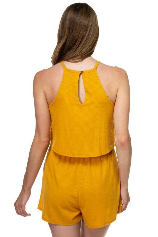 One Piece Bright Yellow Sleeveless Romper Ribbed Front Tie Shorts Jumpsuit Sz S