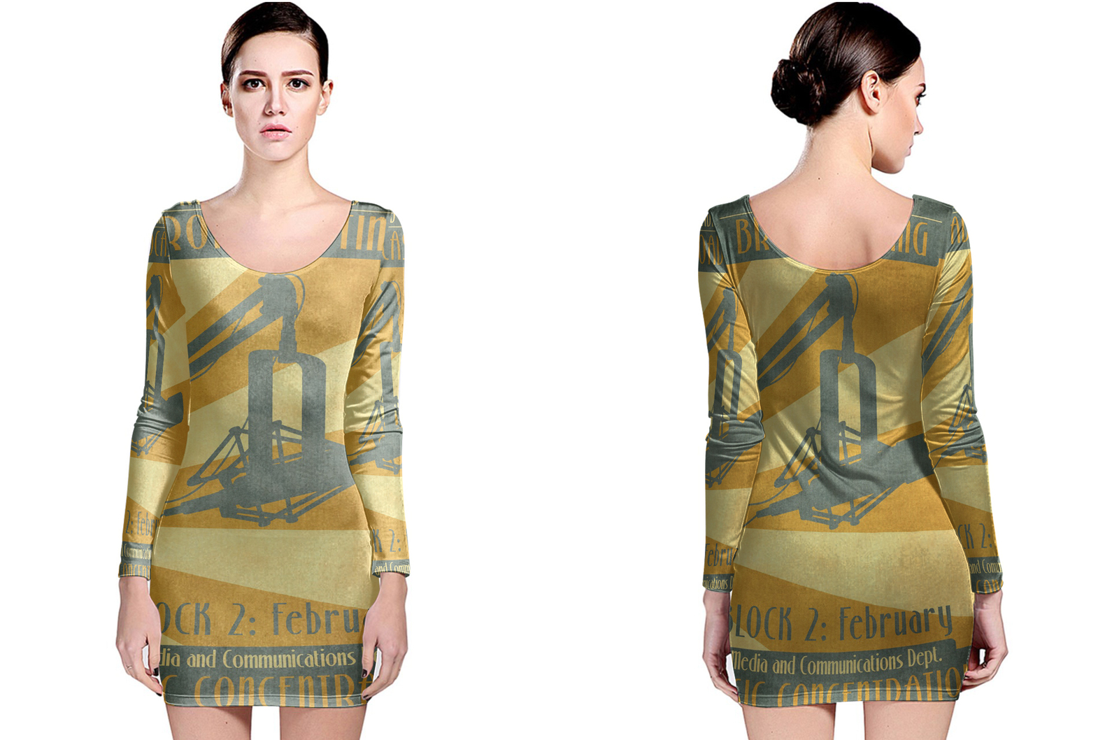 Radio and web broadcasting long sleeve bodycon dress