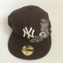 MLB New York Yankees NY Baseball Brown New Era 59Fifty 7 3/8 Fitted Hat Cap  - £26.22 GBP