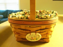 1995 Longaberger Happy Easter  Basket w/Protector & Liner  - $31.27