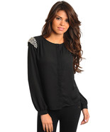 Sexy Juniors Long Sleeve Black Chiffon Party Club Top Embellished w/Stones - $18.99