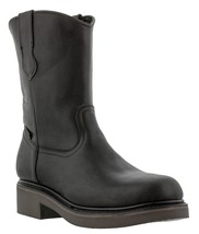 Mens Black Leather Construction Work Boots Durable Cushion Comfort System - €45,18 EUR
