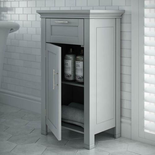 Gray Grey Narrow Wooden Floor Cabinet Bathroom Shelf 3 ...