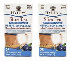 2 Packs of Hyleys 100% Natural Slim Green Tea Blueberry Flavor 25 Teabags Each - $10.99