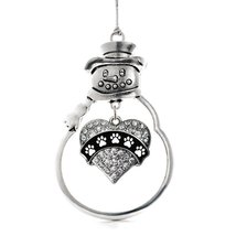 Inspired Silver Cute Paw Prints Pave Heart Snowman Holiday Christmas Tree Orname - $14.69