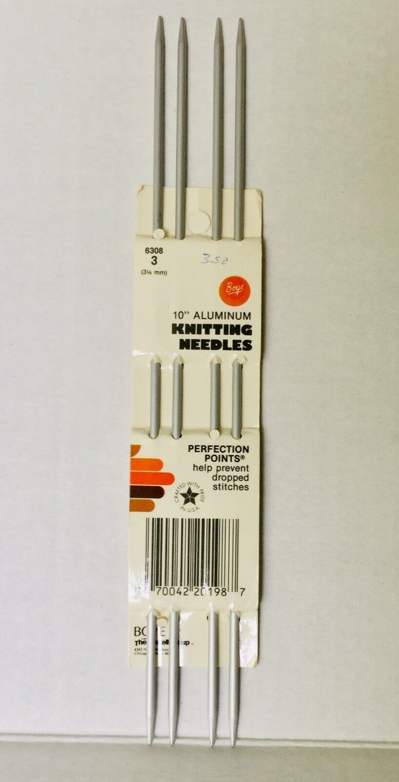 "Primary image for Boye Double Pointed Knitting Needles Sz 3 10"" Aluminum DPN Perfection Points Vtg"