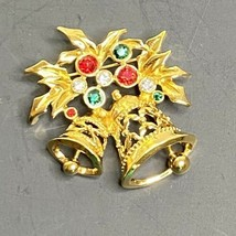 Avon Signed Gold Tone Brooch Pin Christmas Bells Holly Leaves Rhinestones - $11.30